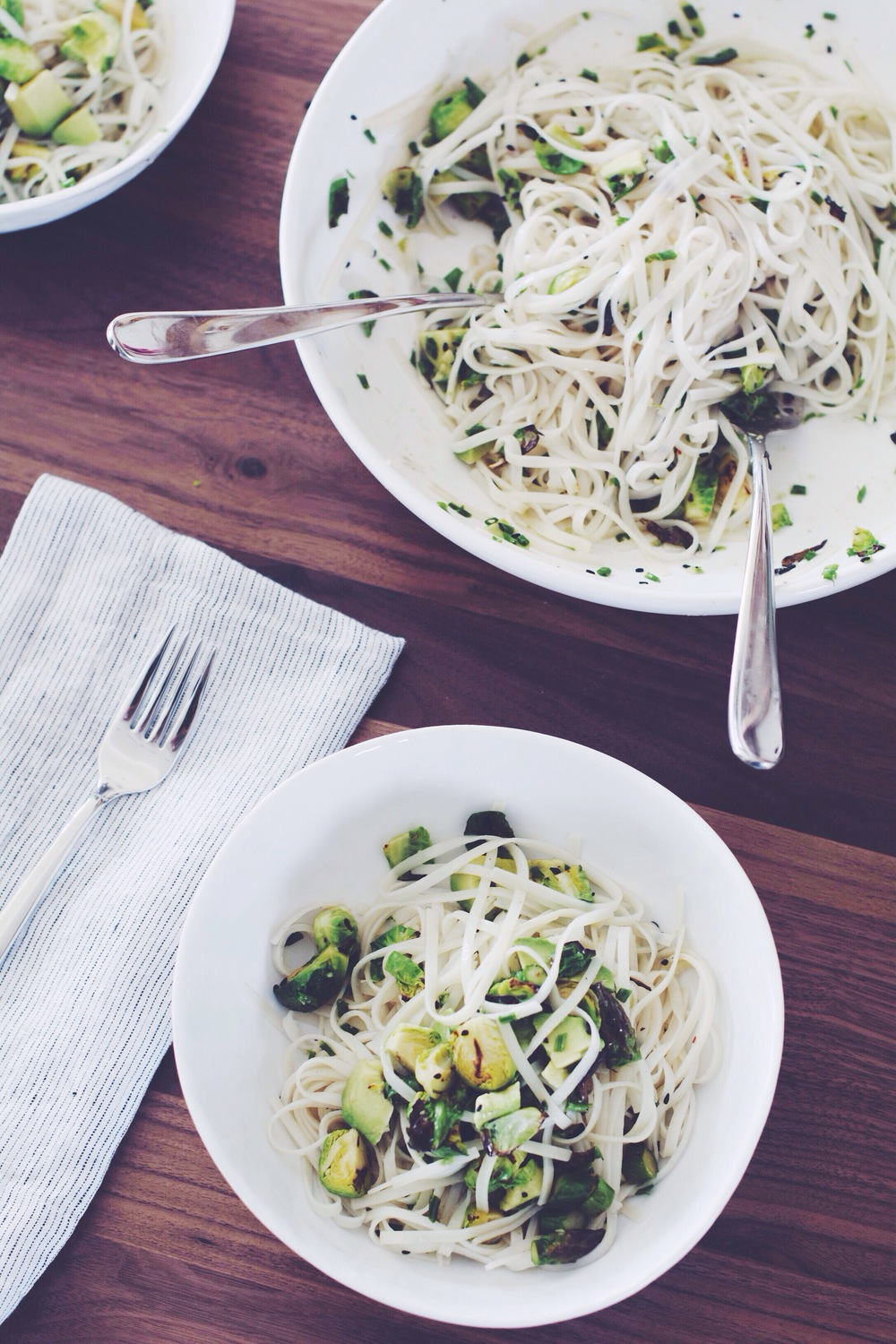 Charred Sprouts + Asparagus Rice Noodle Salad | Thyme & Honey
