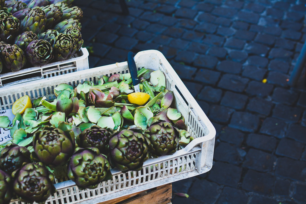 Artichokes being prepared and sold, Campo d'Fiori, Rome