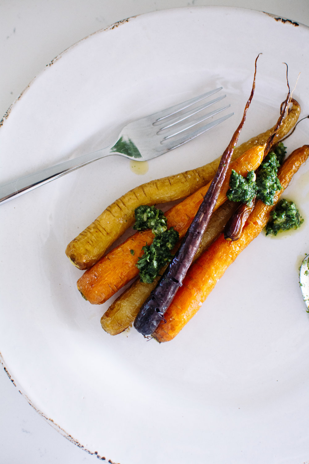 roasted carrots and carrot top pesto