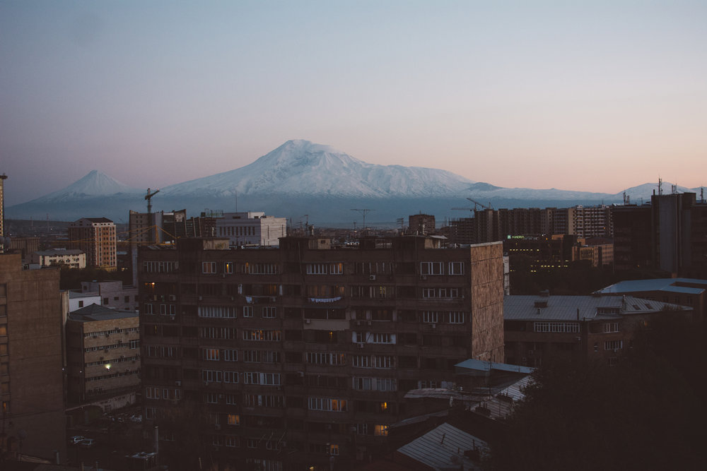 Mount Ararat, seen from the rooftops of Yerevan, 2015.