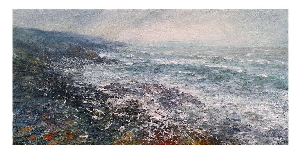 100x50cm Mixed Media on Canvas Storm, Towards Hor Point, Zennor Head, Cornwall £1200.JPG