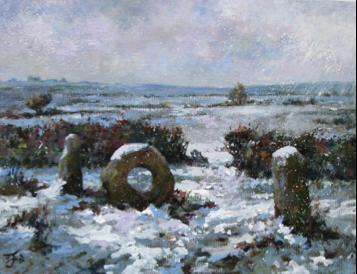 Snowfall at Men-an-Tol