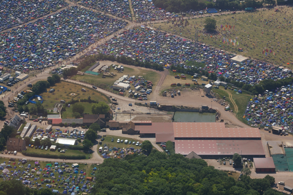 The Worthy Farm dairy unit seen from the air during the Glastonbury Festival.