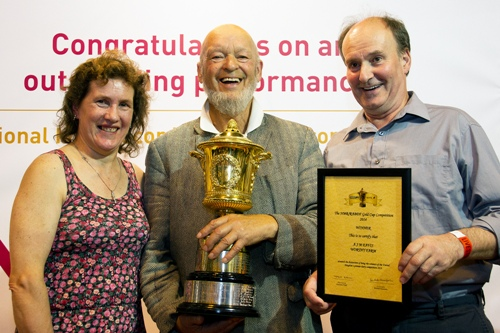 NMR RABDF Gold Cup winners 2014 from left Pam Taylor, Michael Eavis, Richard Taylor