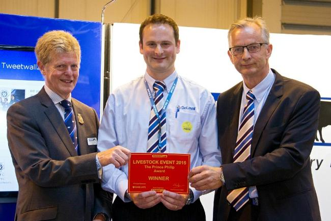 RABDF president, Prof David Leaver presents the award to DeLaval's Kieran FitzGerald and Knut Ree