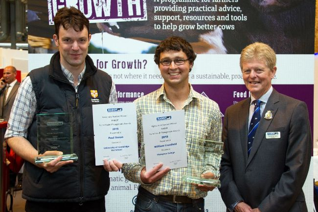 Winners Paul Doran and William Cranfield with RABDF president, Prof David Leaver