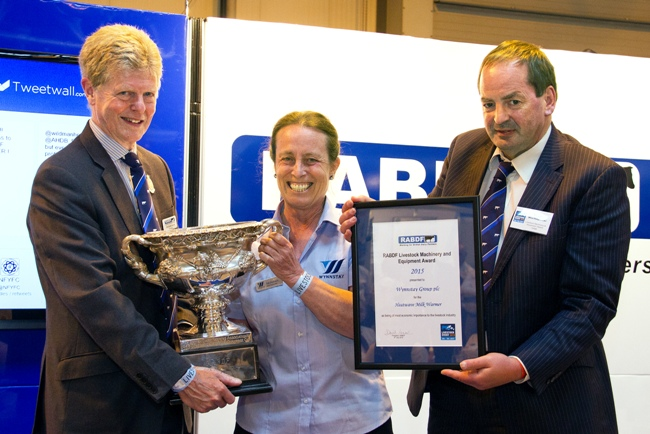 Gill Dickson receives the RABDF Livestock Machinery and Equipment Award from left, RABDF president, Prof David Leaver and Council member, Angus Wielkopolski