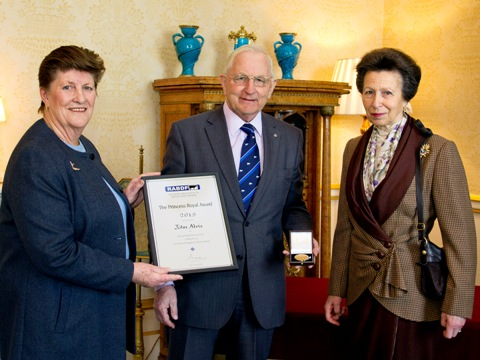 John Alvis, with his wife Pauline, receives the RABDF Princess Royal Award from Her Royal Highness