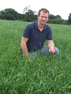 Simon Bugler pictured in a field of Italian ryegrass on July 27th.  Three cuts of silage had already been taken, the latest on July 10th.  The field was cut again for a fourth cut on August 10th.  There is a good regrowth and it will be used to graze in-calf heifers in September.