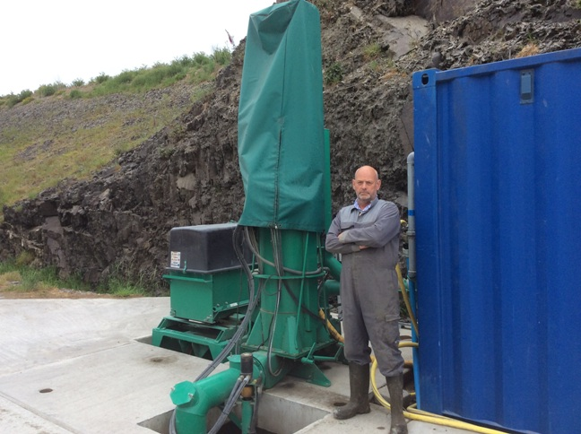 Photo: Simon Stanfield with his Electromix pumping system from GEA.