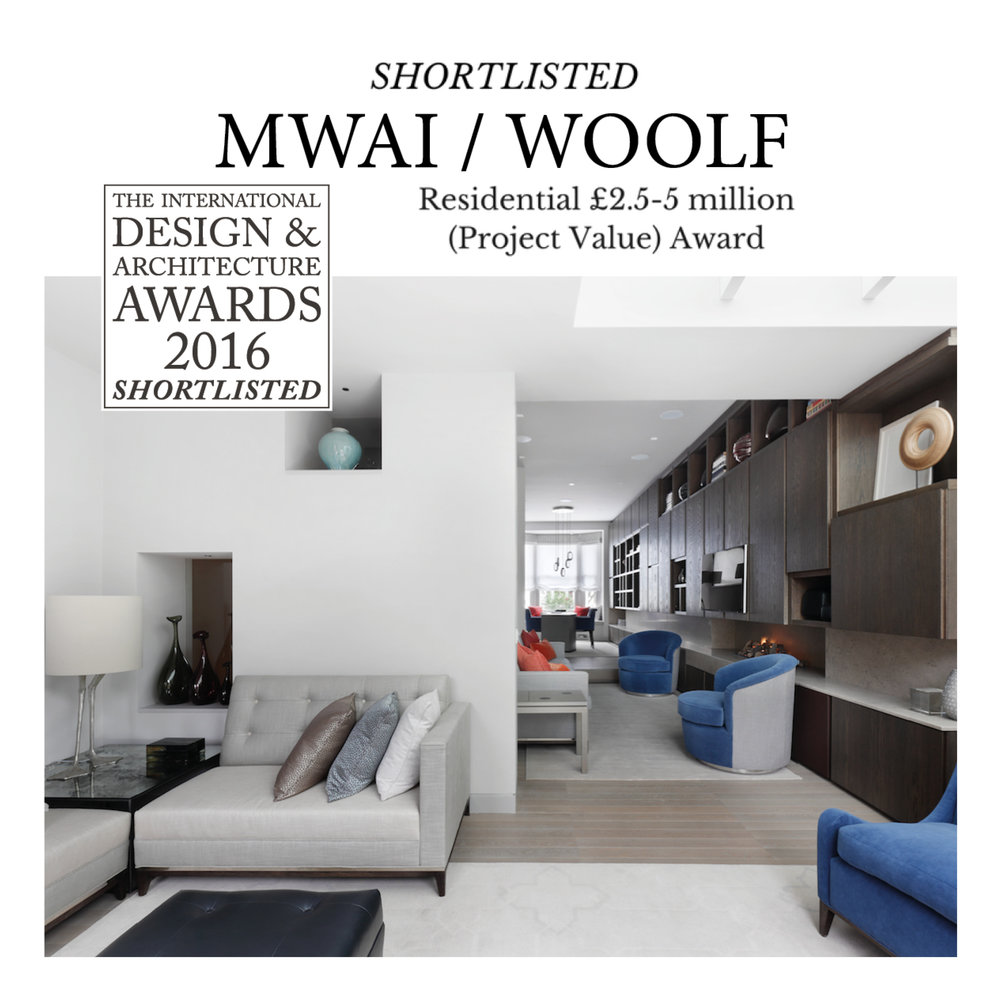 WOOLF collaborated with MWAI architecture on an elegant refurbishment which was shortlisted for the International Design & Architecture awards 2016