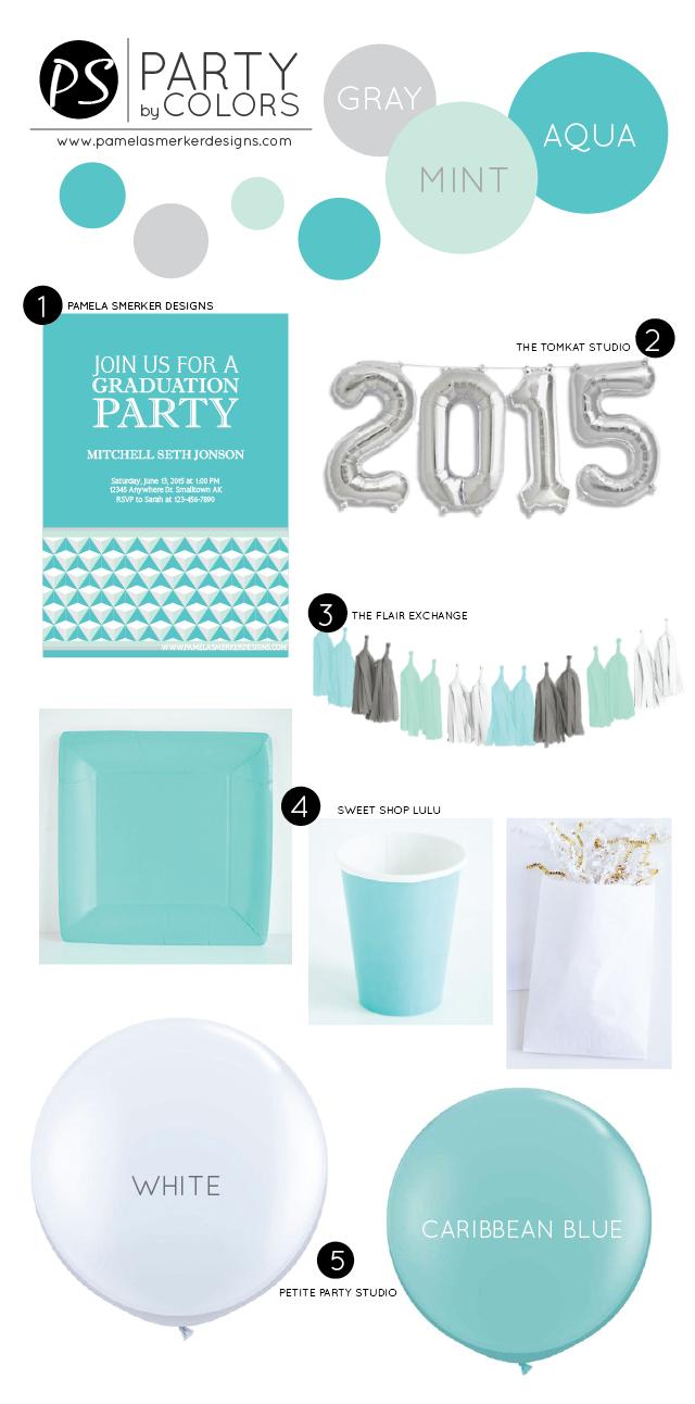 Pamela Smerker Designs~ Party by Colors~ Aqua, Mint & Gray Graduation Inspiration Board