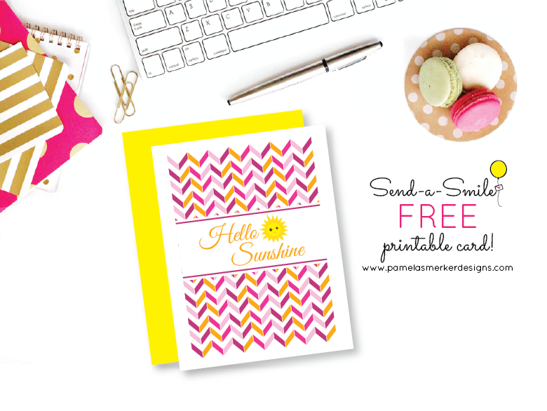 May 2015 Send A Smile Project FREE DIY Printable Card from Pamela Smerker Designs