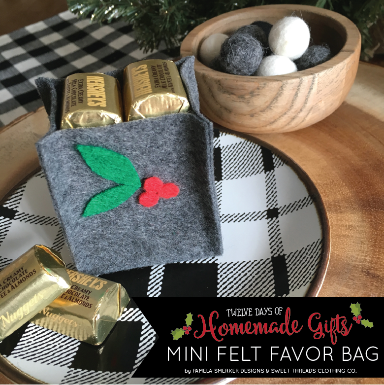 DIY Mini Felt Favor Bag With Free Printable Pattern