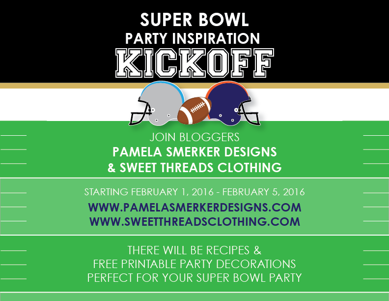 Super Bowl Recipe and Party Decoration Inspiration Kickoff! Pamela Smerker Designs & Sweet Threads Clothing