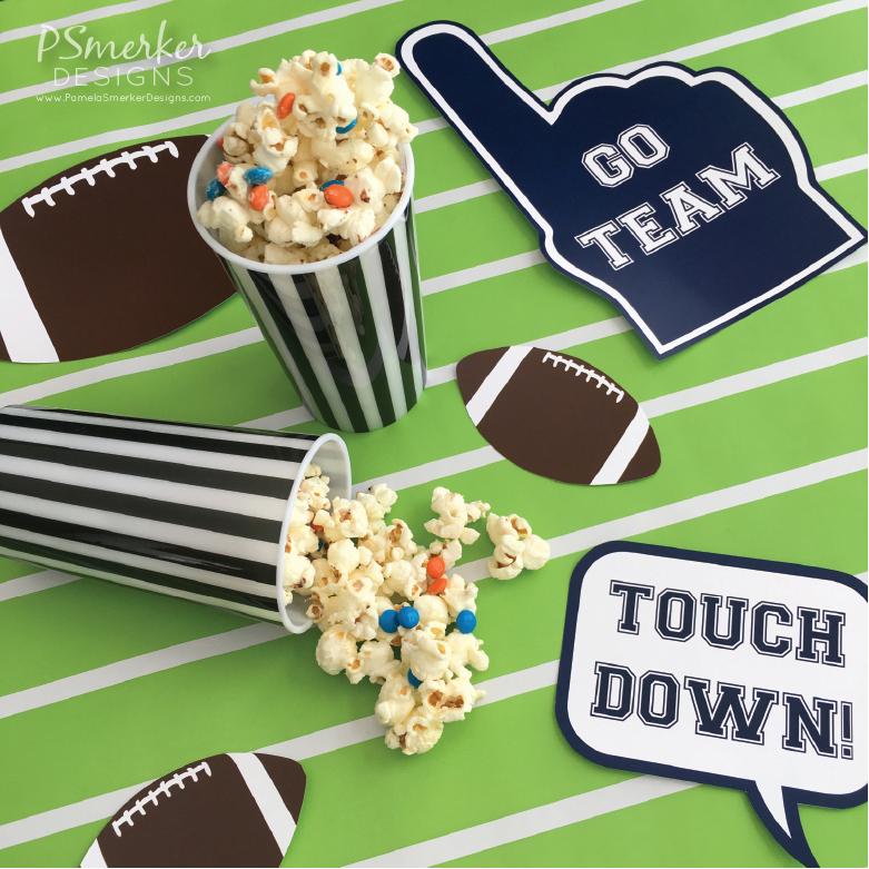 Super Bowl Party Inspiration. Football Crunch Snack Recipe by Pamela Smerker Designs