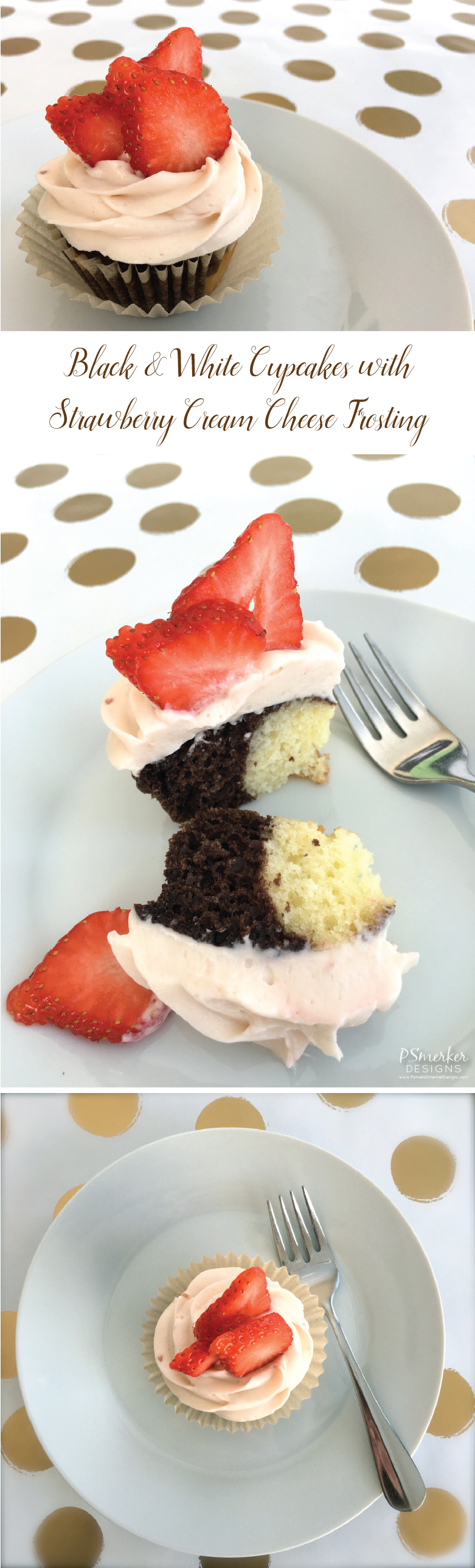 Black and White Cupcakes with Strawberry Cream Cheese Frosting Recipe by Pamela Smerker Desigsn