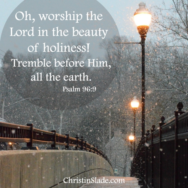 Oh, worship the Lord in the beauty of holiness! Tremble before Him, all the earth. Psalm 96:9