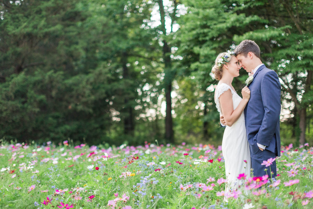 Fields of wildflowers make for beautiful wedding photos.