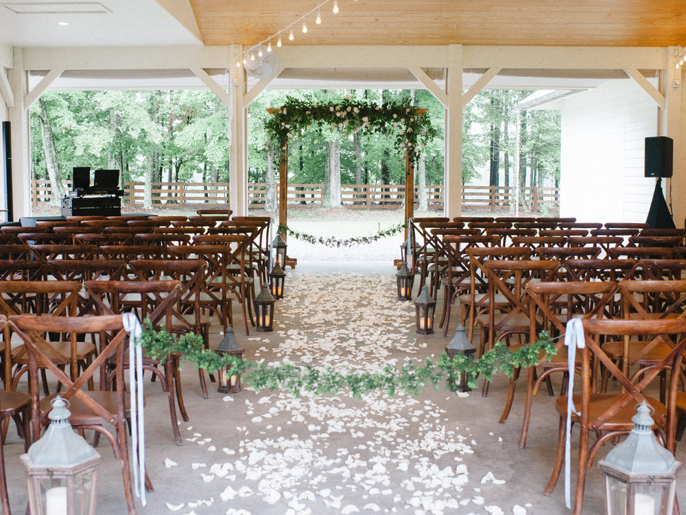 Our covered, conditioned pavilion means couples don't have to worry about wedding day weather.