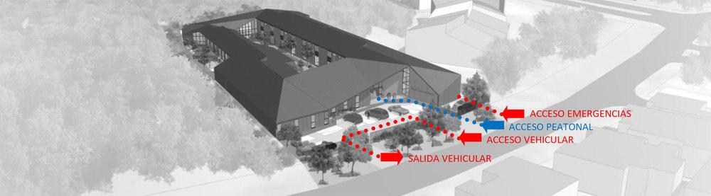 Fig. 05:Vista de conjunto | Gráfica de accesos peatonal y vehicular.