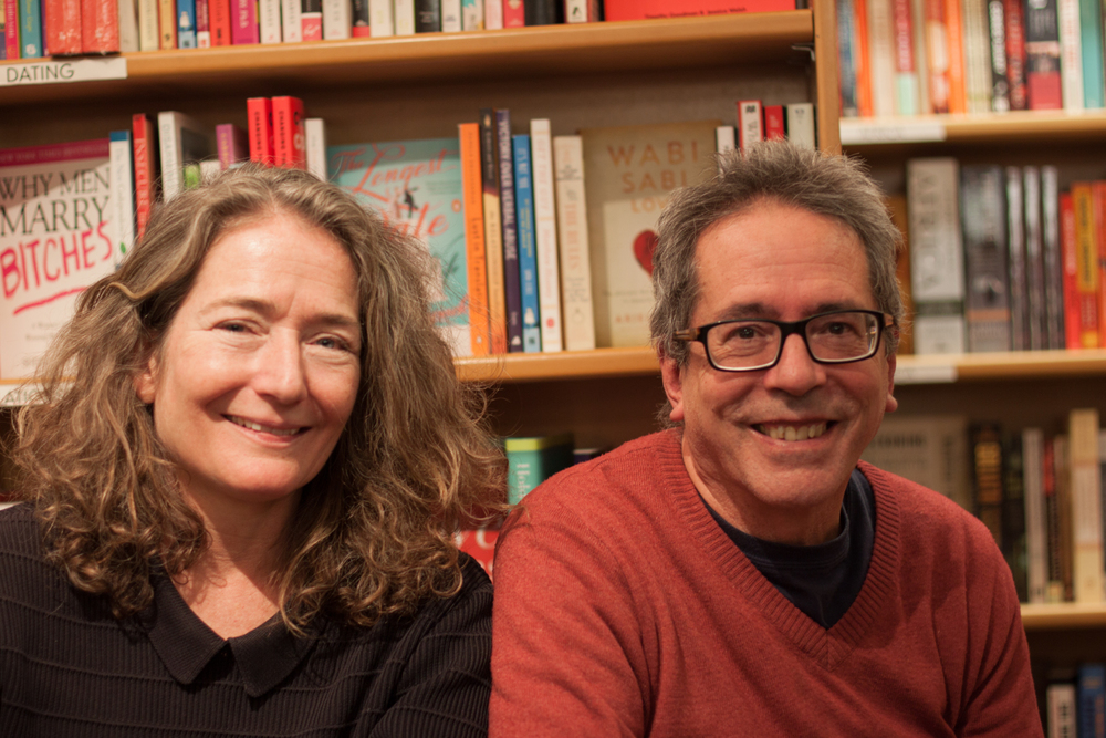 César Aira with New Directions publisher Barbara Epler at McNally Jackson Bookstore.