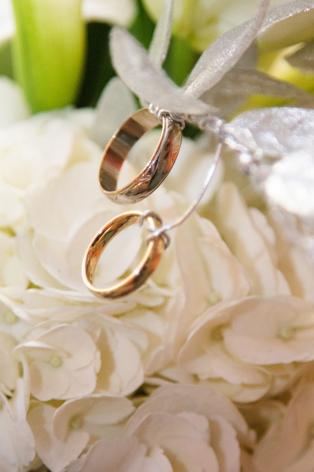 Brittany included her grandfather's wedding bands in her bouquet on her wedding day.