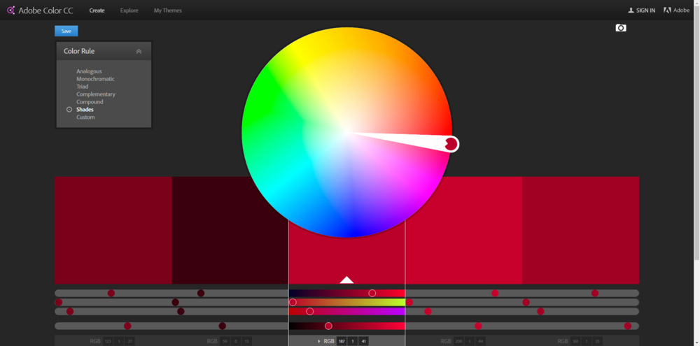 Adobe's Color CC tool with a variety of red shades