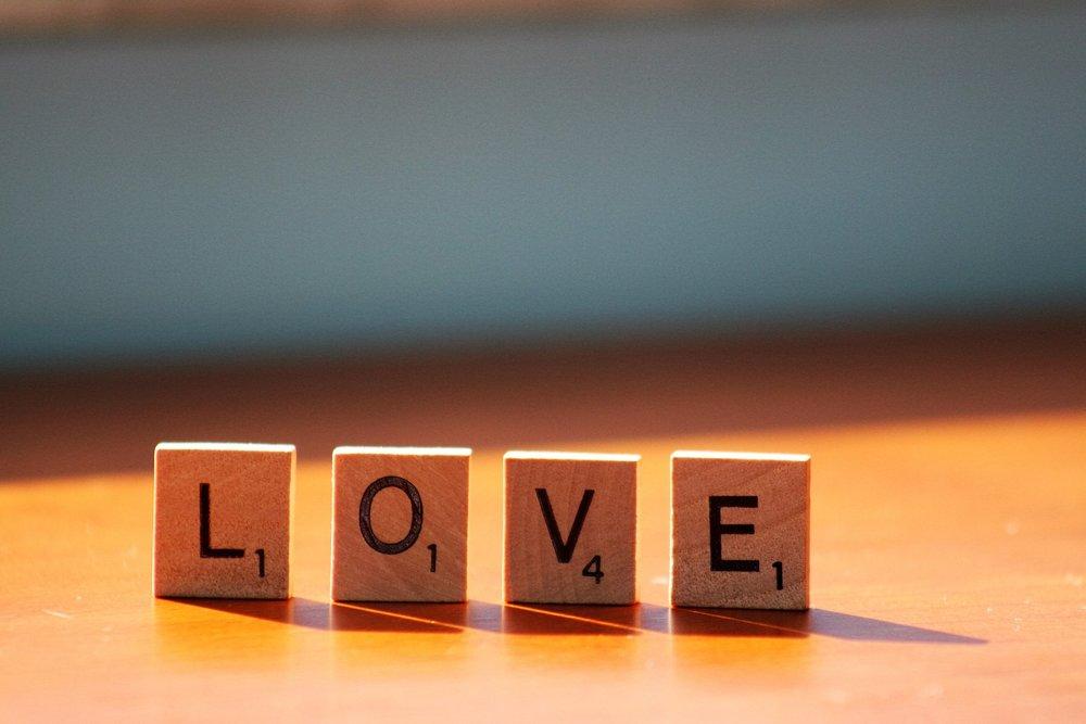 Scrabble letters spelling love