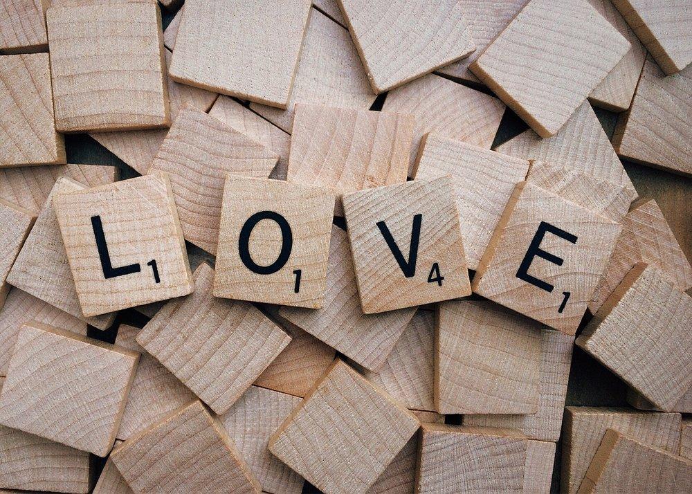 More Scrabble letters spelling love