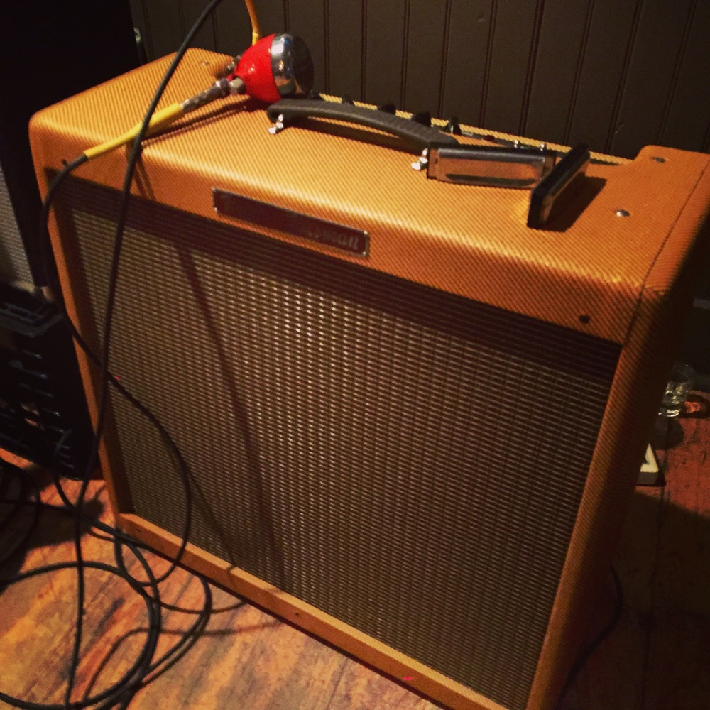 Icey's 1959 Fender Bassman Reissue, Bullet Mic, and Hohner Special 20 Harmonicas.