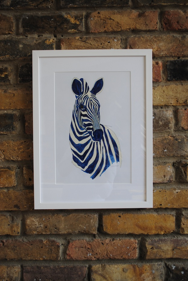 Glitter Zebra: Single mount, simple white frame. Artist: Catherine Cazalet