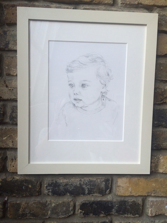 Aubrey. Deep mount, painted frame 'Clunch'. Artist Amy Shuckburgh