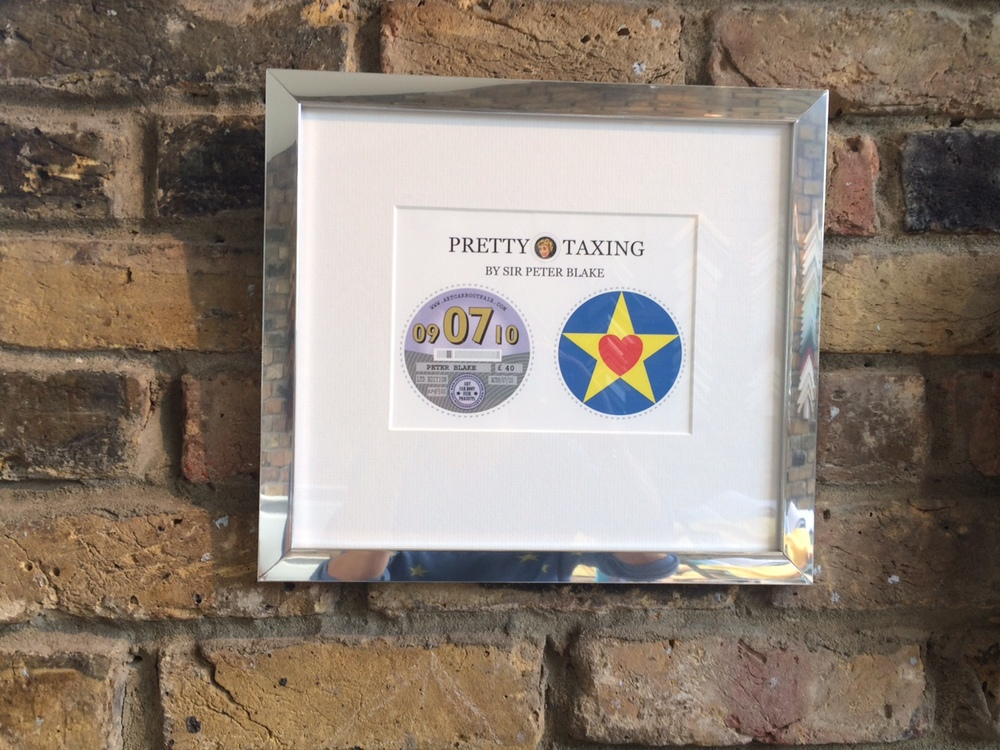 Peter Blake Tax Discs: Off White Mount, Silver Frame