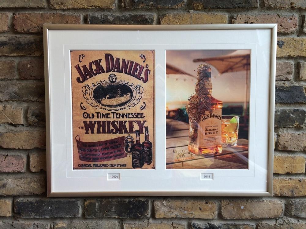 Jack Daniels Ad, silver frame, V Groove, titles boxes