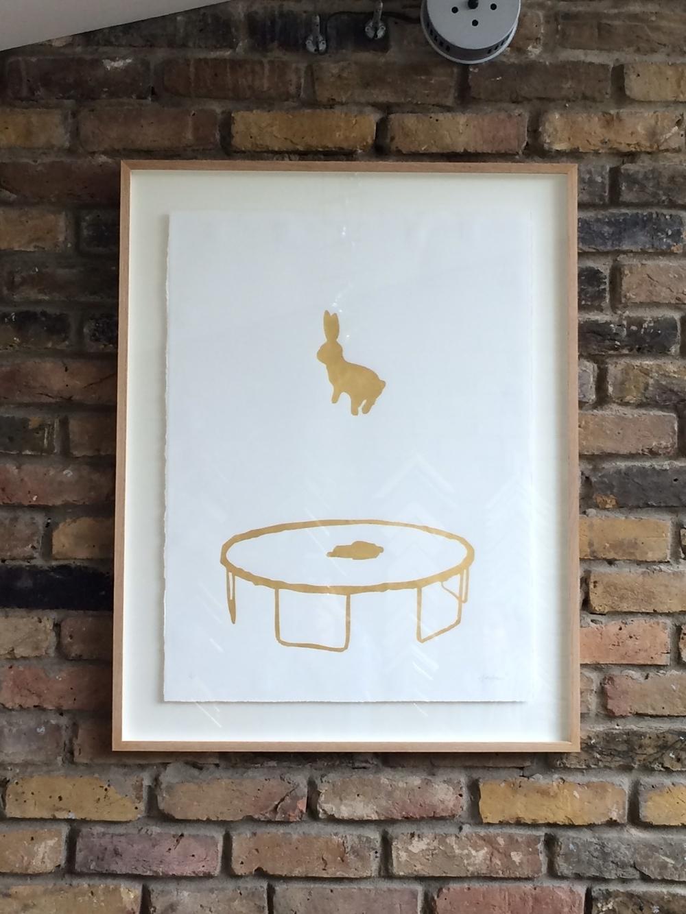 24 Carat Gold Leaf Bunny, floated, Oak Frame. Artist, Hammade.