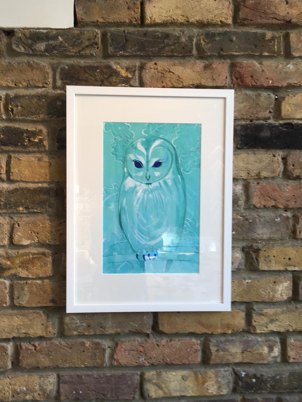 Owls. White Frame. Artist Catherine Cazalet
