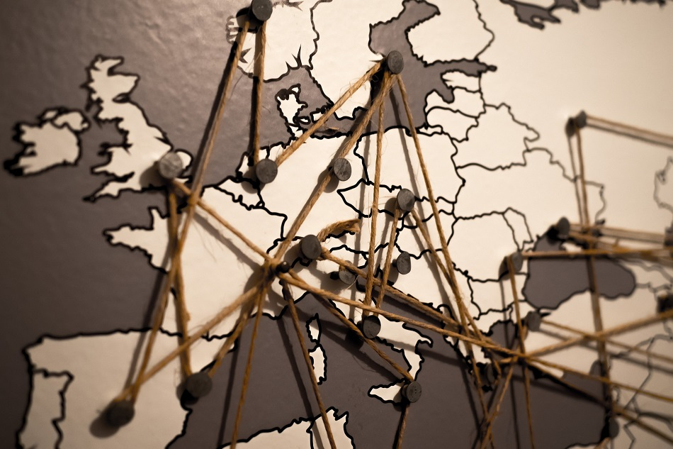 Connected European map pinboard