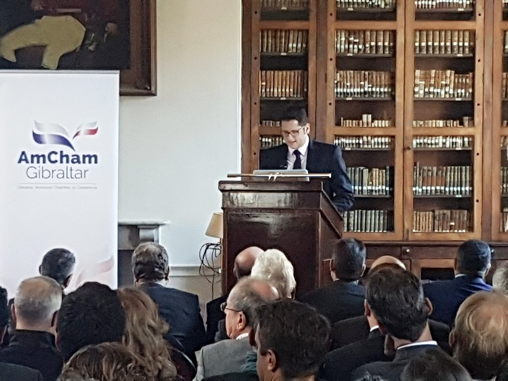 Angelo Cerisola, alumni of the Gibraltar Leadership Initiative, 15 week internship program in Washington DC speaks about his experience at the event