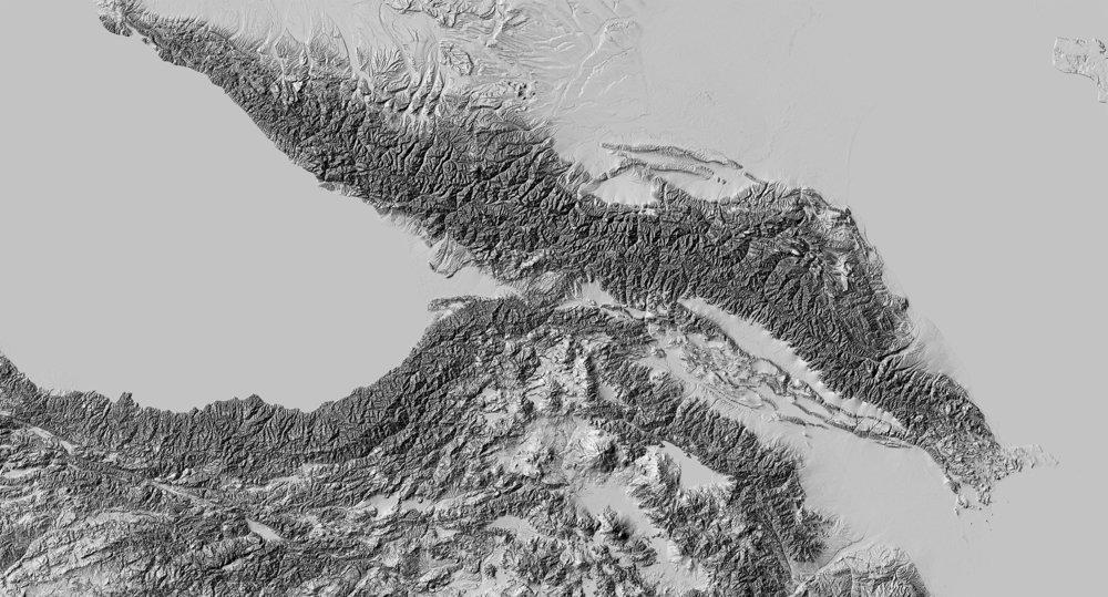 Hillshade rendering of the Caucasus region. Very harsh and overwhelming.