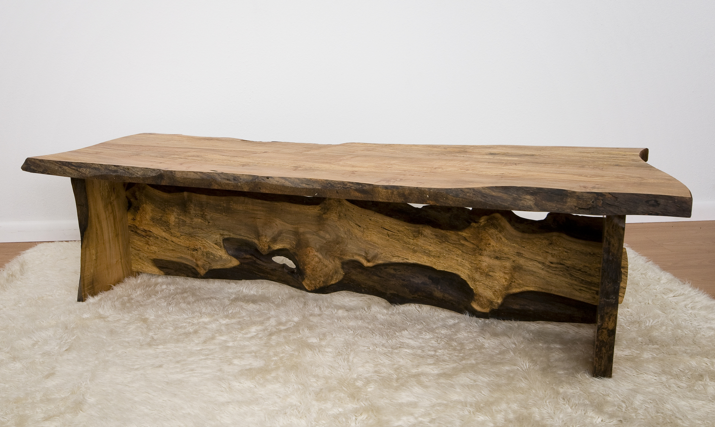 Spalted Maple Slab Table With Live Edge, Hand Rubbed Oil Finish