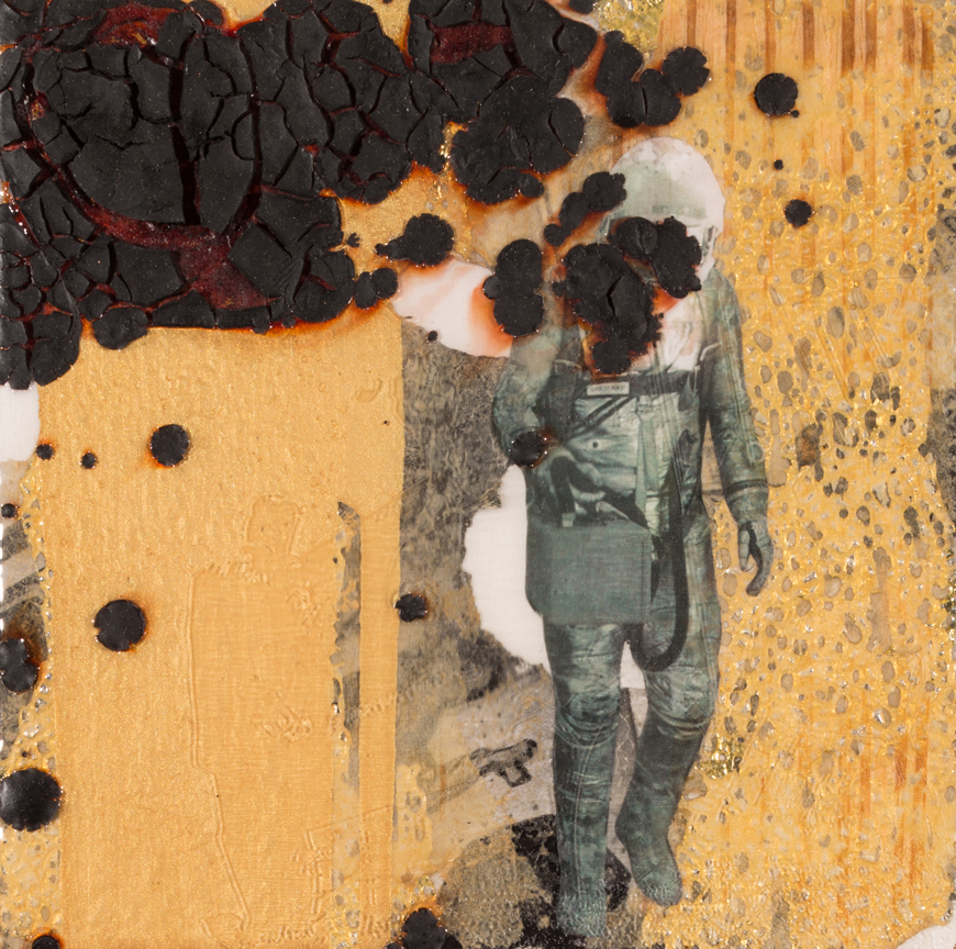 The Exiled and the Returned   2015 8 x 8 Mixed media collage with etched resin on wood panel