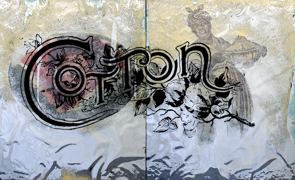 Tignon   2015 49 x 80 Mylar, paper, charcoal dust and enamel paint on wood