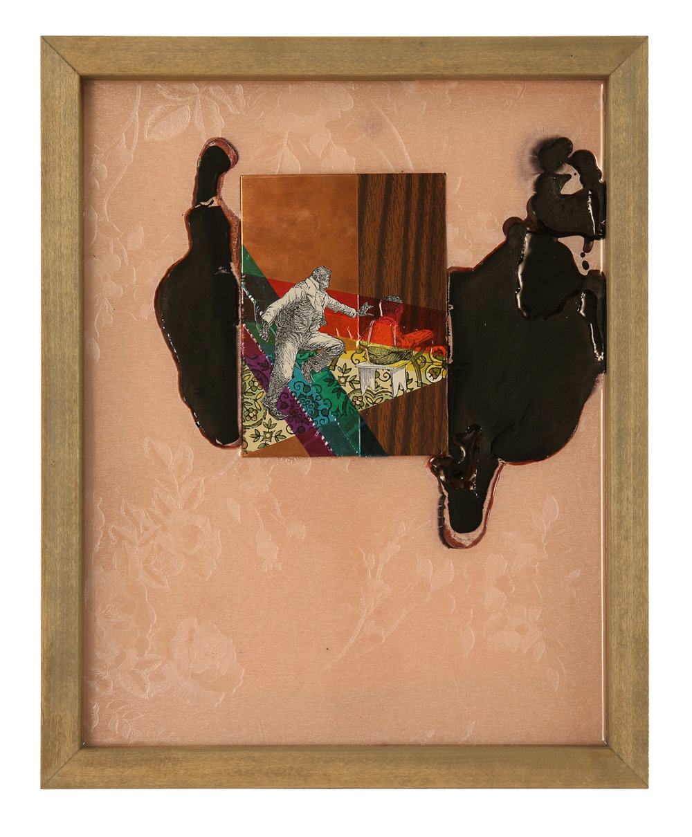 "Island Suite Part 4: You Should Take It Slow   2016 16"" x 13"" Paper, copper plate, cellophane, vinyl and shoe polish in wood frame"
