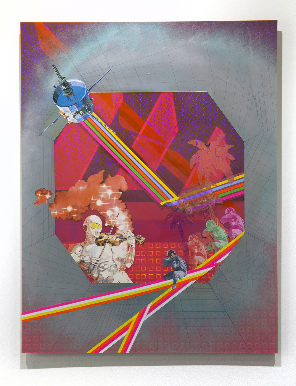 Cowboys and Indians     2018 Vinyl, tape, Mylar, cellophane, spray paint, and paper on plexiglass 31h x 24w in