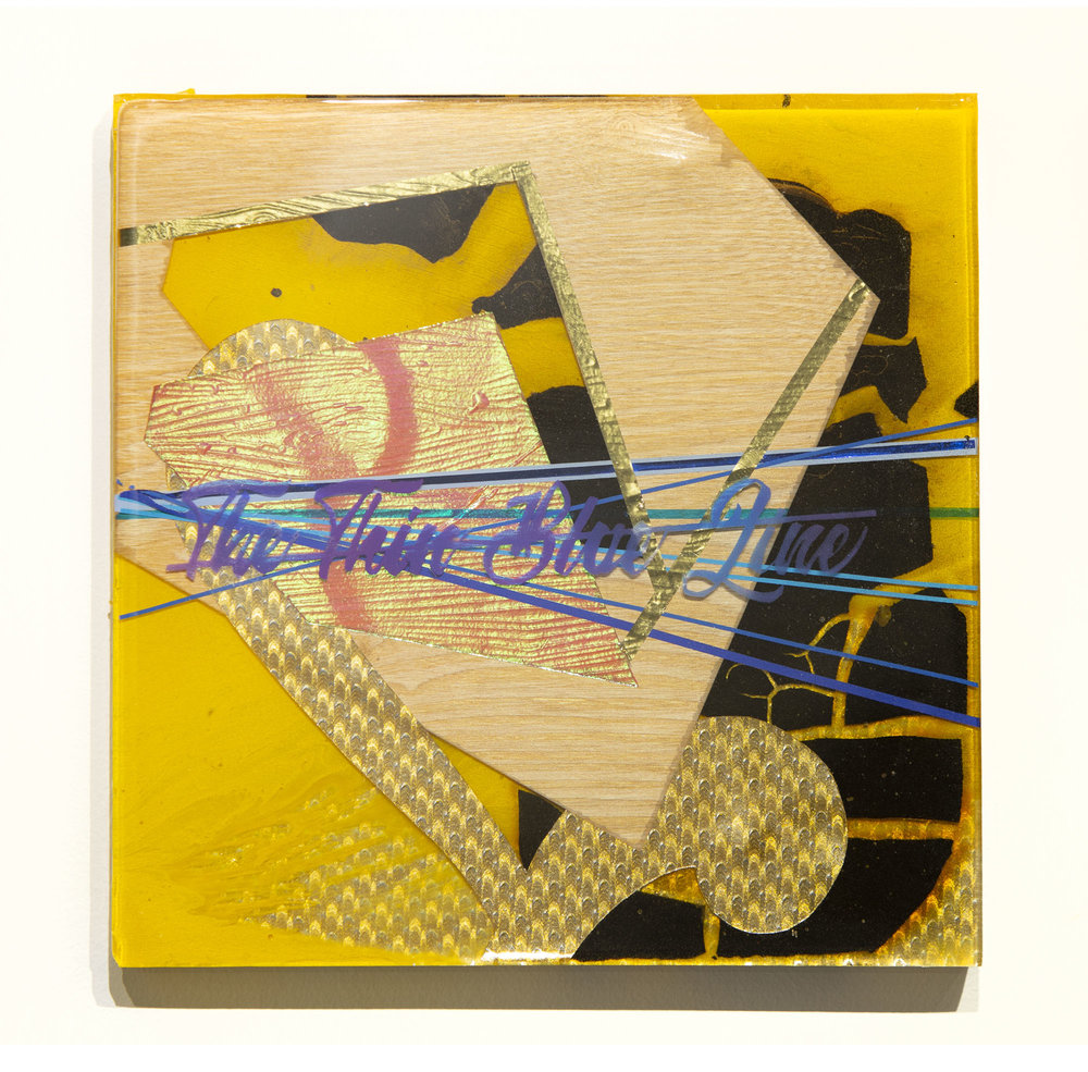 Dorthard v. Rawlinson   2018 Paper, metallic tape, enamel paint, shoe polish, and resin on wood 12h x 12w in