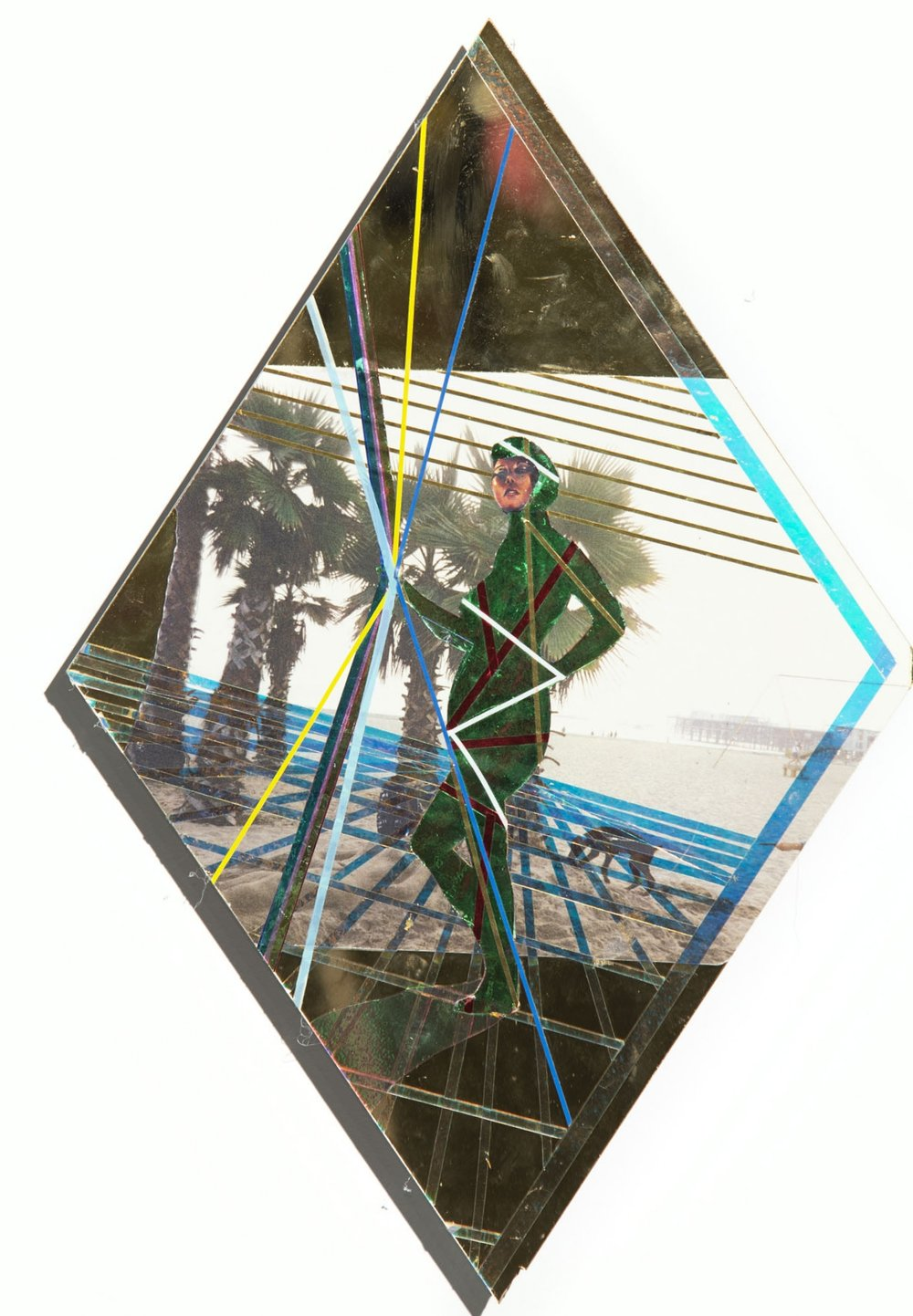 Had A Dream We Were On Our Way   2018 Paper, vinyl, tape, lights, and cellophane on plexiglas 18h x 12w in
