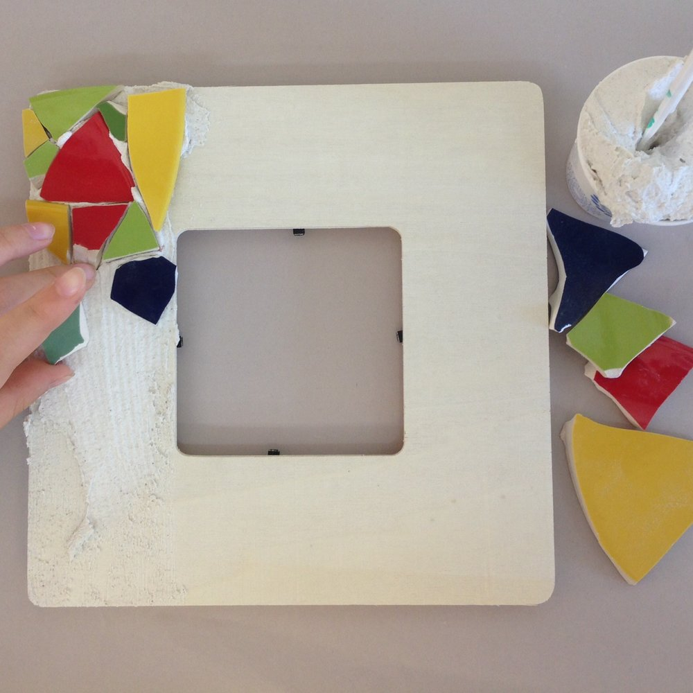 Mosaic Parties: ages 3-adults frames, flower pots, or mirrors ($5 extra)