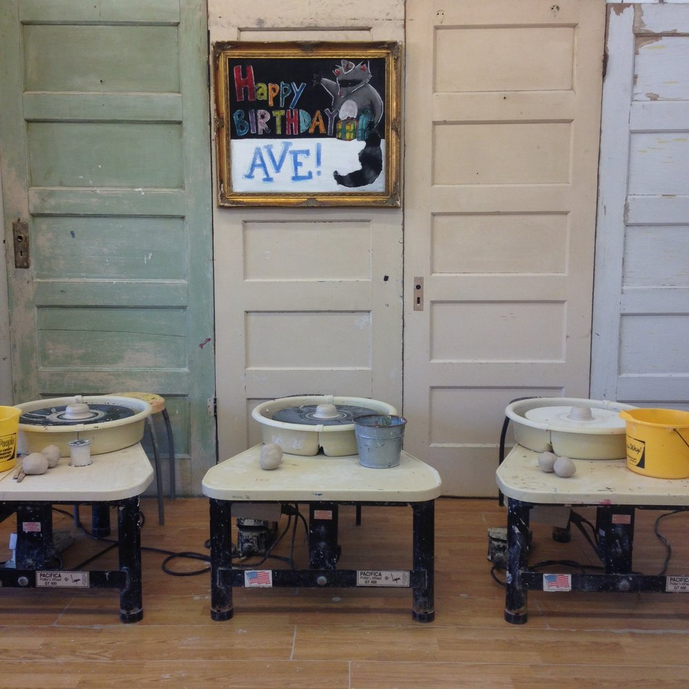 Wheel throwing is always available during our drop in hours at Studio4Art. Ages as young as 2 and as old as 102 have the opportunity to learn. Beginners are welcome, we show you each step to complete a bowl, plate, cup, or mug.