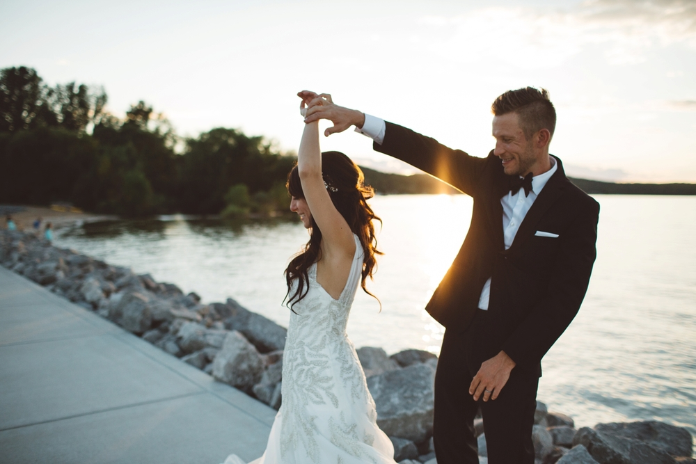 northern michigan wedding at golden hour